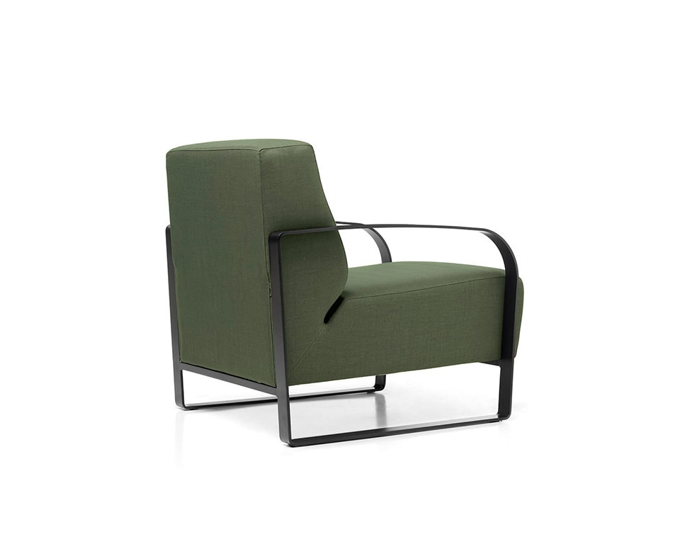 viola retro styled Italian armchair with black steel frame in leather or fabric
