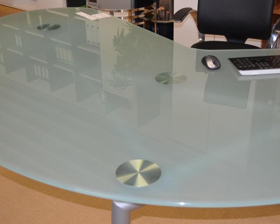 Sand blasted frosted glass desk top for Isotta kidney shaped desks
