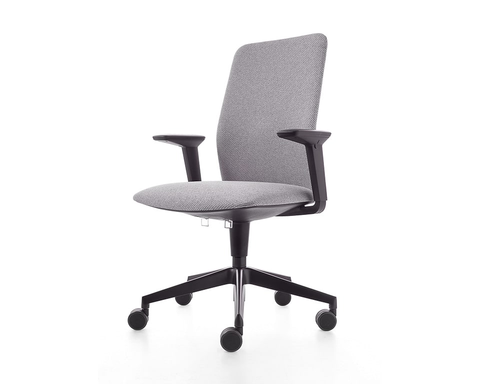 Executive office chair with a black 5 star base and height adjustable arms