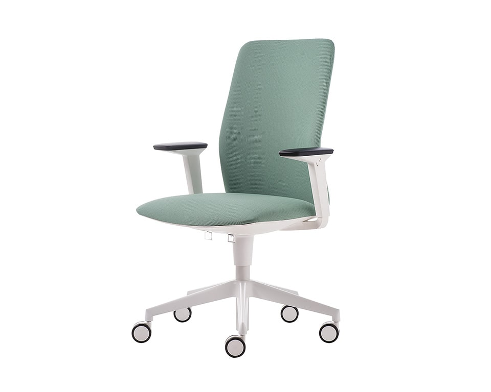 Executive office chair with a white 5 star base and height adjustable arms