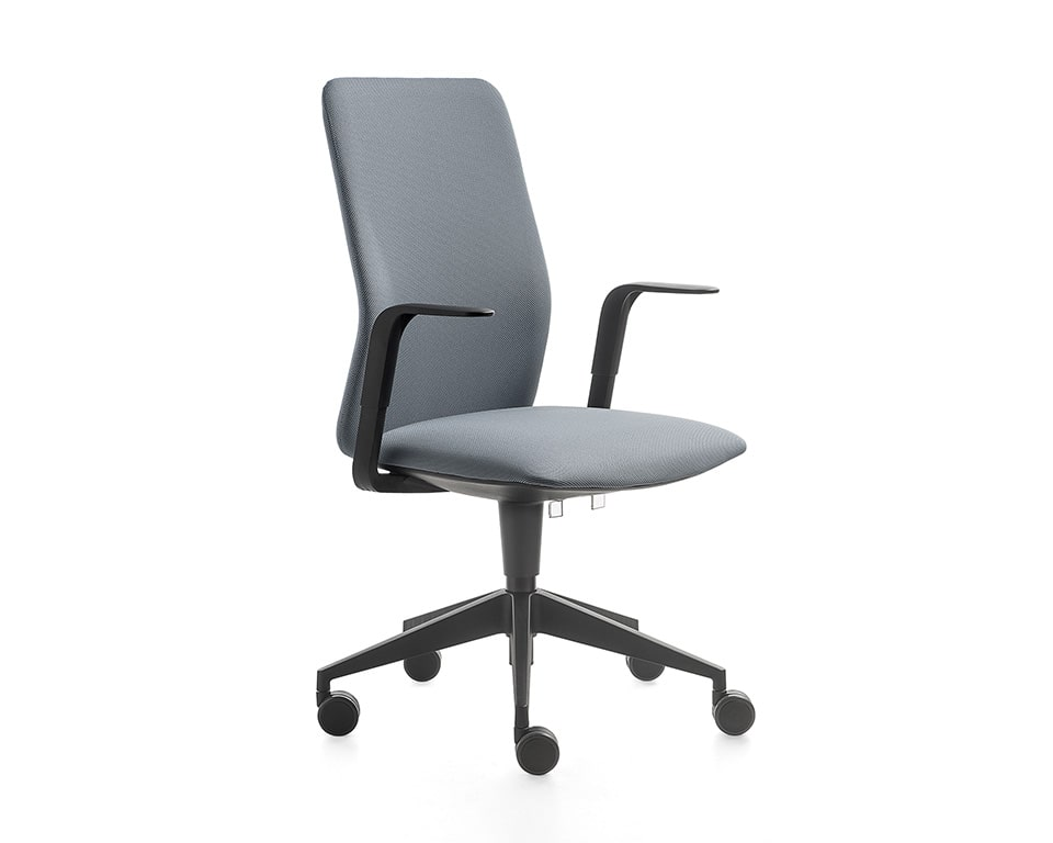 Kappa High quality Home office chairs with fixed arms upholstery in luxurious fabrics with black structure