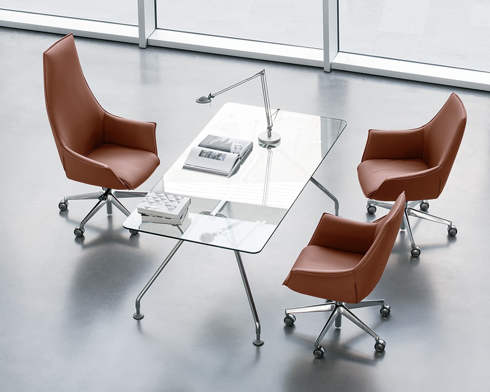 High quality transparent glass desk with tan leather executive chairs