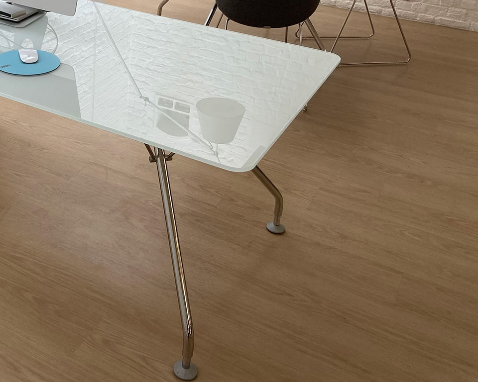 White glass executive desk top and small meeting table with chrome legs
