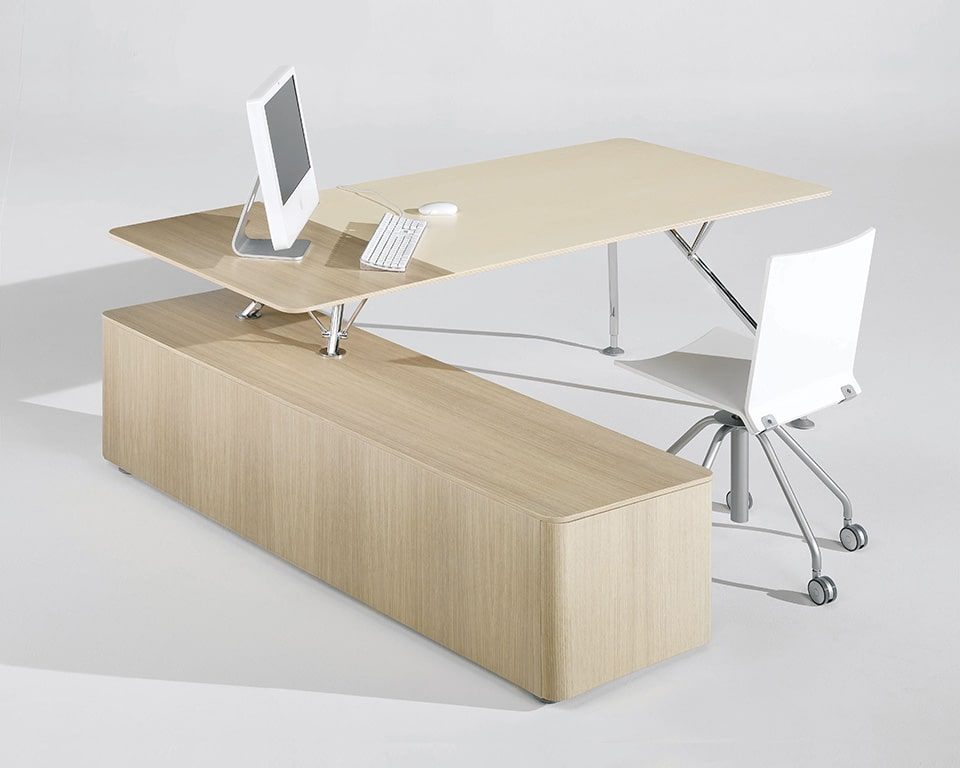 Luxury modern executive desk in bleached oak with chrome legs. A high quality L shaped or rectangular desk .