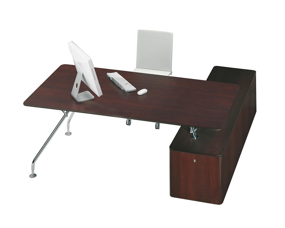Large Dark oak wood executive designer desk with chrome frame in an L shape with a lowered side return