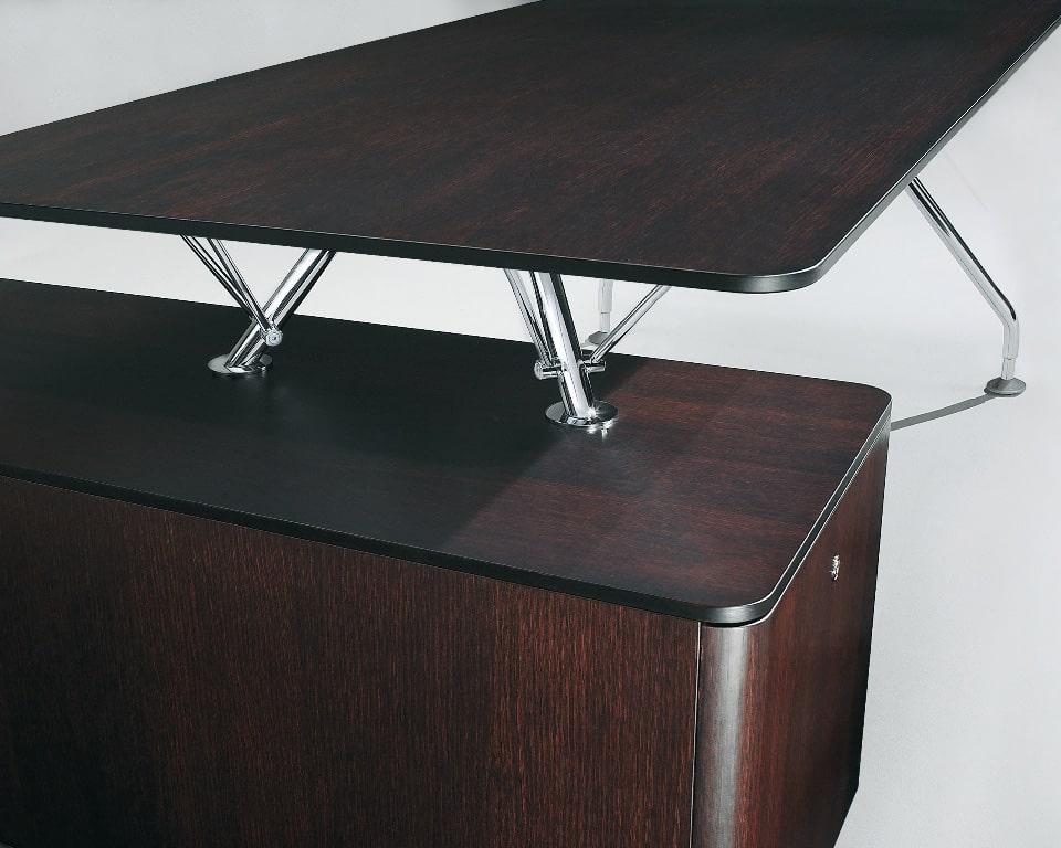 Dark oak wood executive designer desk with chrome frame