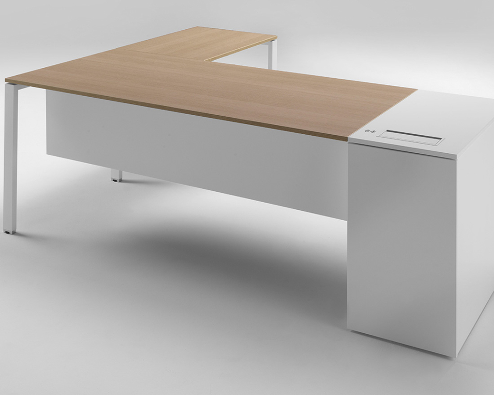 High quality 6x3 Italian managers desk with bleached oak tops and white structures