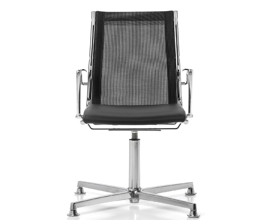 High end Havana black leather and black mesh 4 spoke return swivelling meeting and boardroom chairs with die cast polished aluminium arms