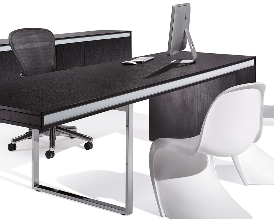 Luxury Black Wood Executive Desks- High quality Long Friday executive designer desk in black ash wood with matt white lacquered band and matching cupboards