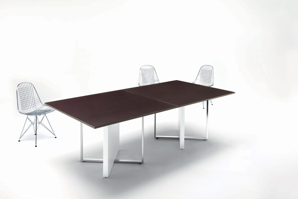 High quality Modi modular meeting table 2400 x 1200 with dark oak table tops and white supporting structures