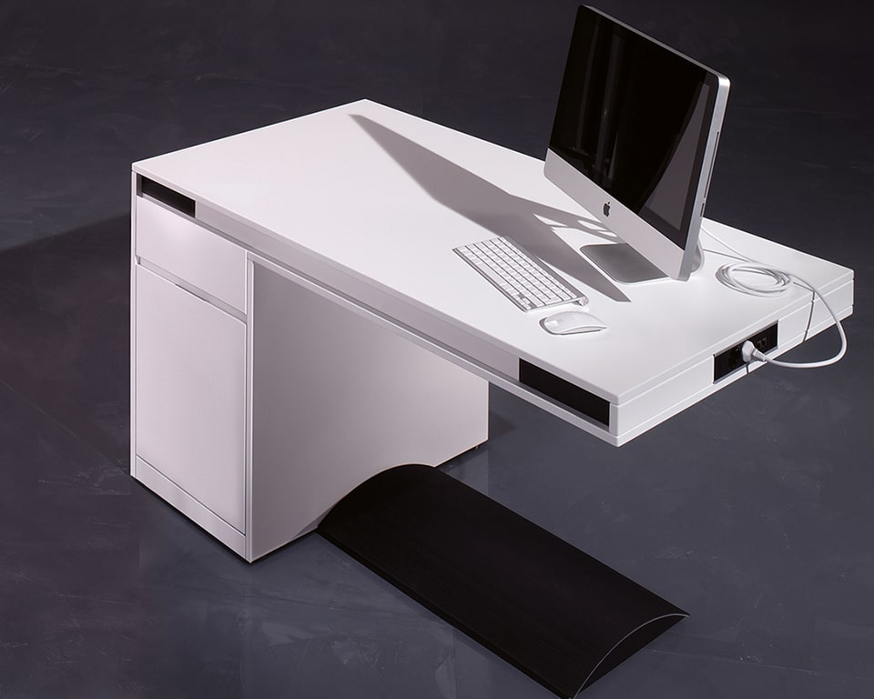 Luxury small designer office desk- Friday Small home office designer desk in matt white lacquered with the black footrest support