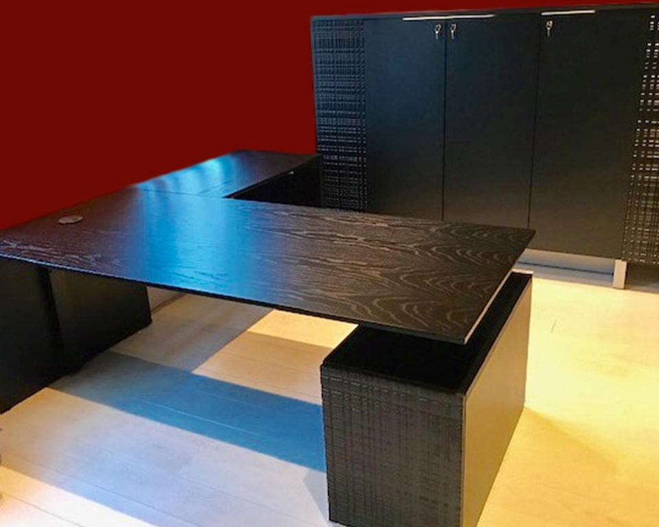 Luxury Black wood executive desk- High quality L- shaped Black ash wood modern executive desk and matching tall storage cupboard from the modi executive office furniture range