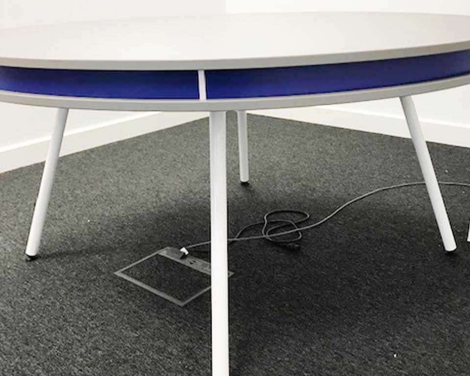 On high quality round 1500 mm diameter white designer meeting table with blue detailing