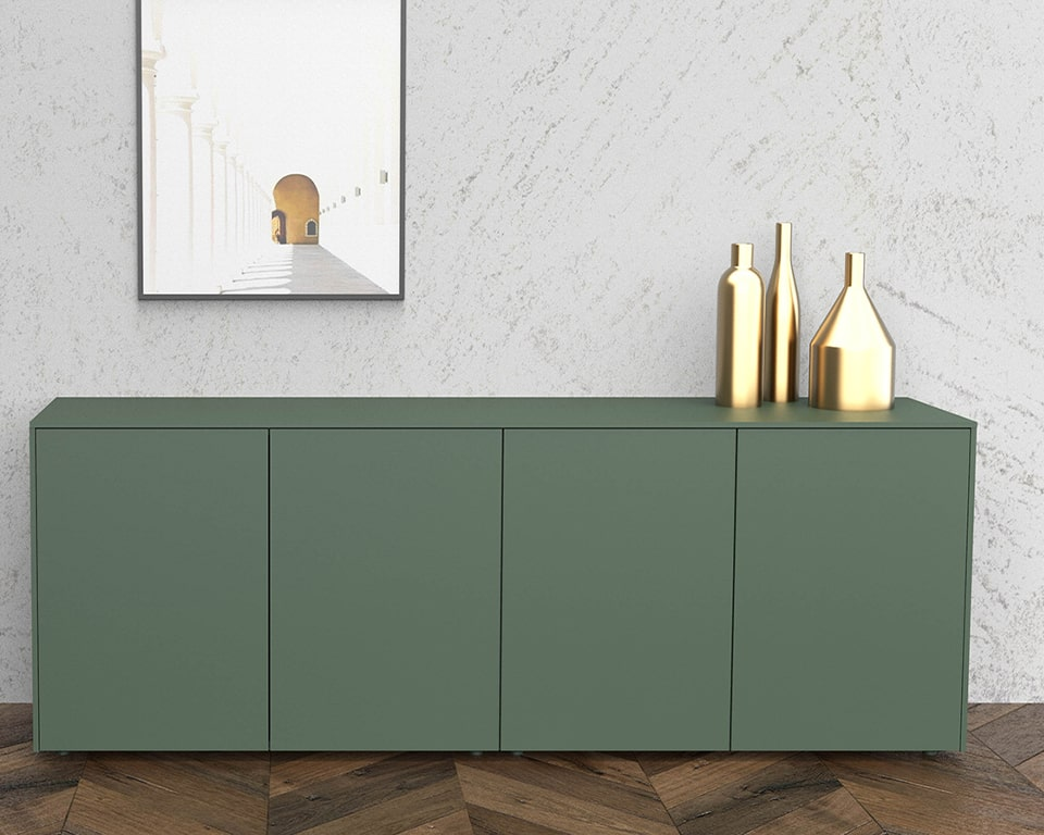 The Minimum 4 door sideboard is shown here in a stylish contemporary sage green matt lacquered finish
