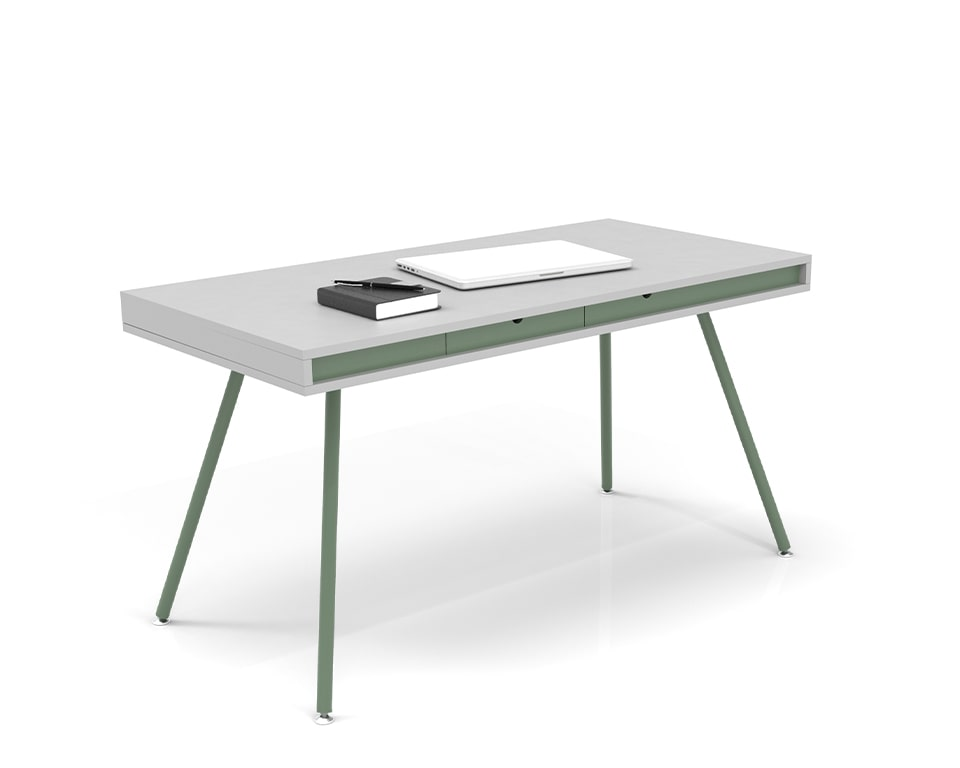 ON Home is an elegant small home office desk shown here in white laminate with a sage green horizontal band and small drawers