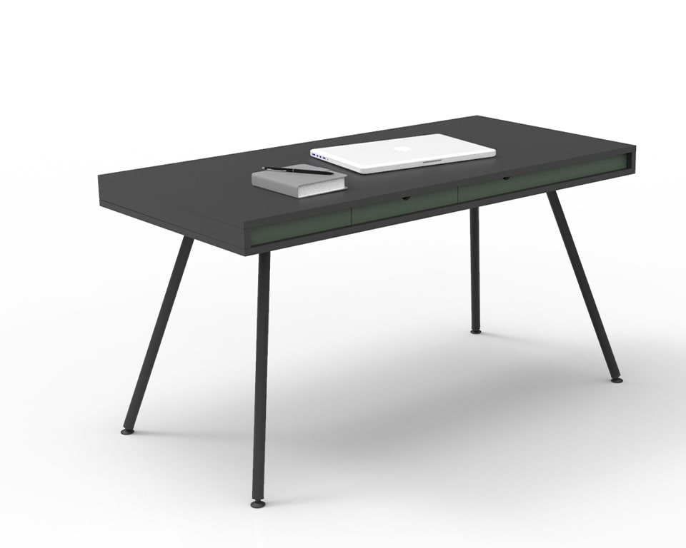 ON Home is an elegant small home office desk shown here in black laminate with a sage green horizontal band and small drawer