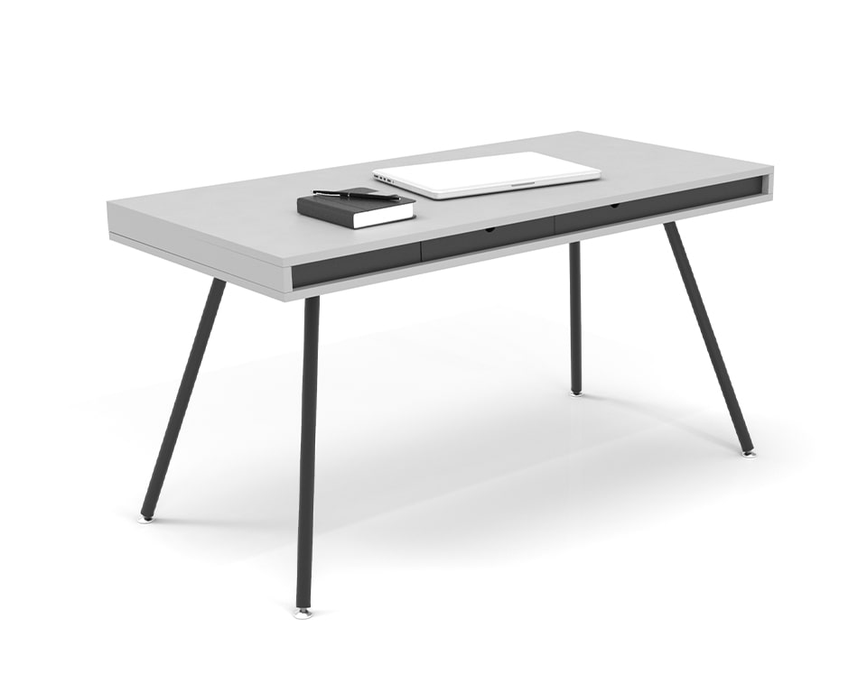 ON Home is an elegant small home office desk shown here in white laminate with a black horizontal band and small drawers