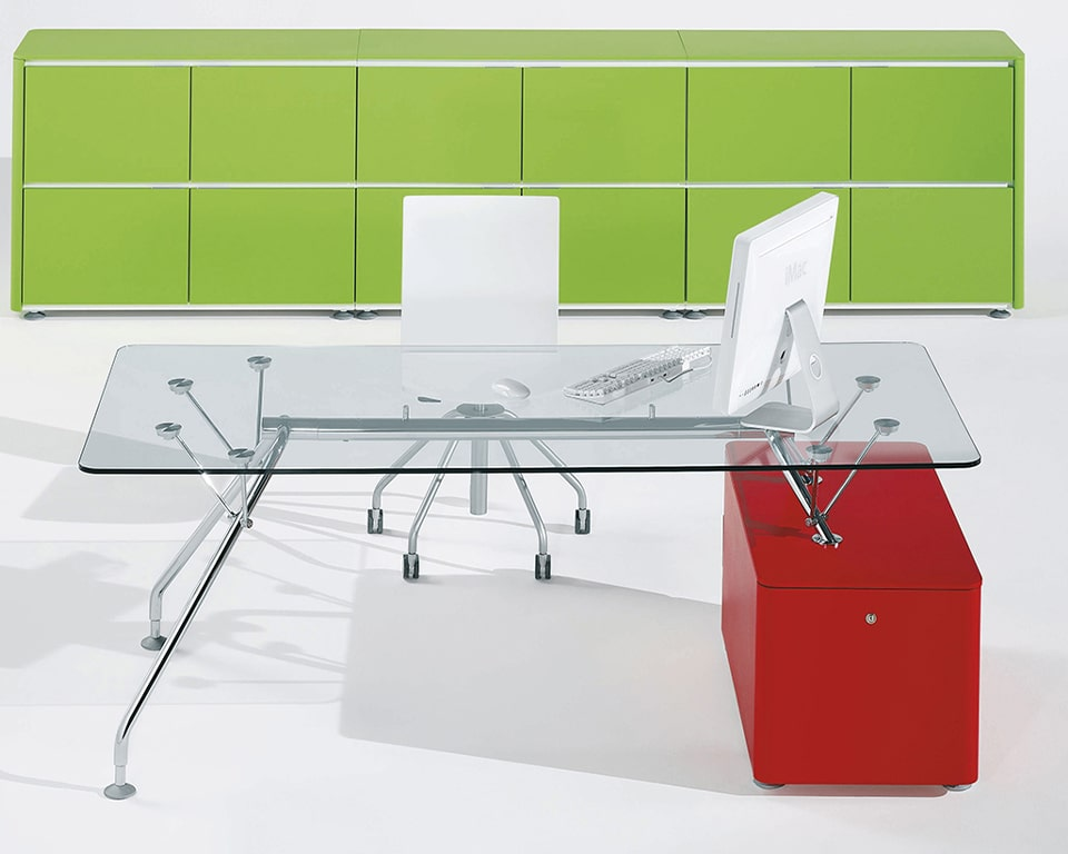 High quality Prospero designer desks with glass desk tops and lacquered structural storage