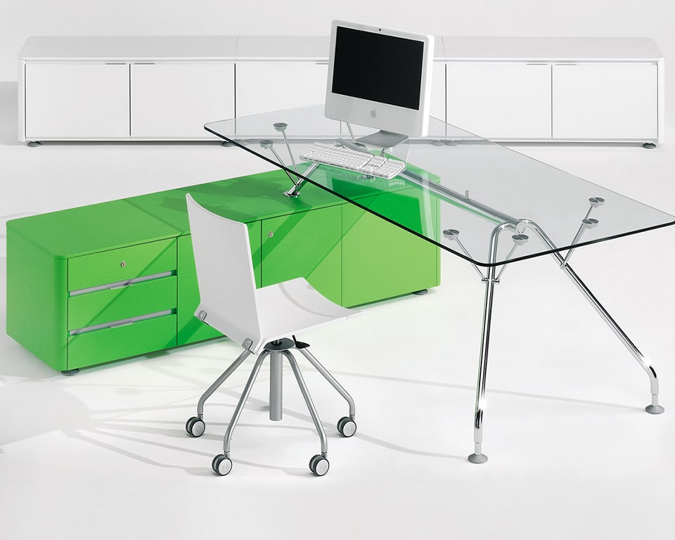 High - end Prospero designer desks with glass desk tops and lacquered structural storage