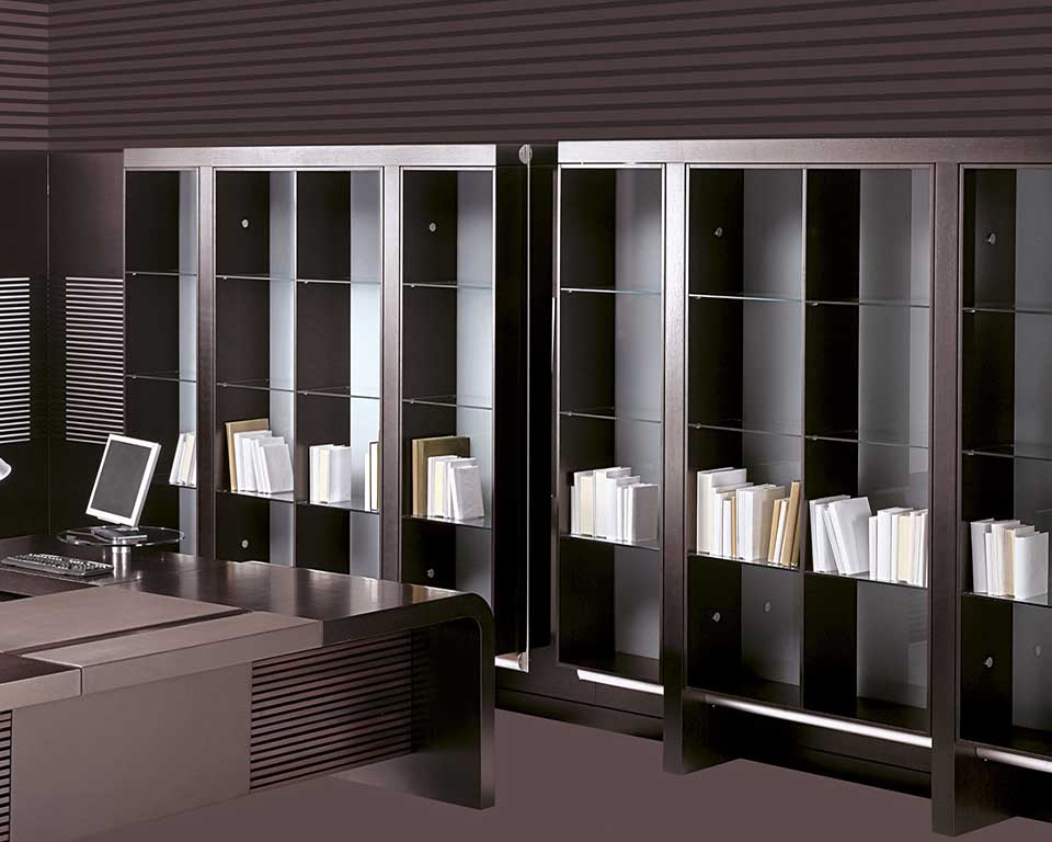 High quality open fronted glass bookcase with dark oak sides and top to Match Tau and Taiko large executive desks