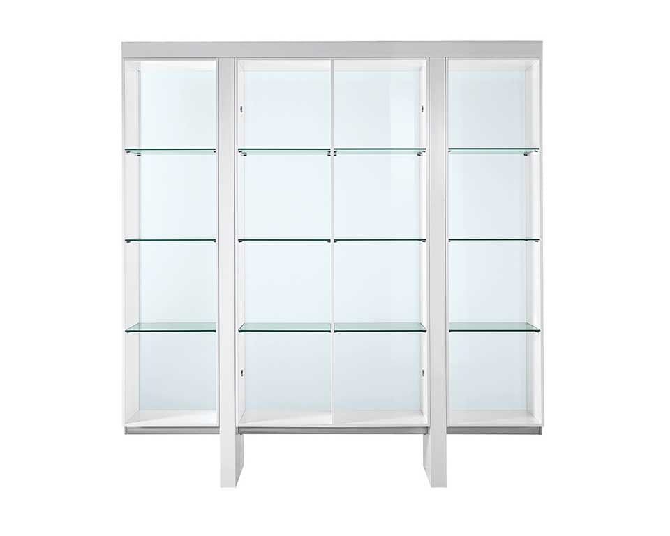 High quality open fronted glass bookcase with white gloss sides and top to Match Tau and Taiko large executive desks
