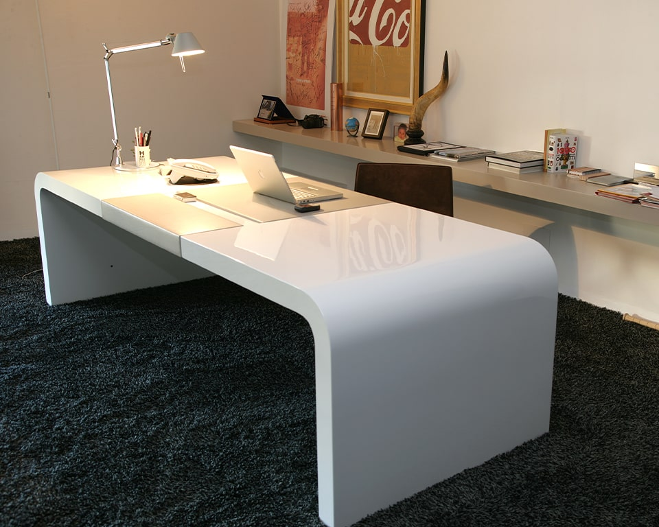 Luxury high - end Tau High quality white gloss executive table used as a desk with leather in laid desk top