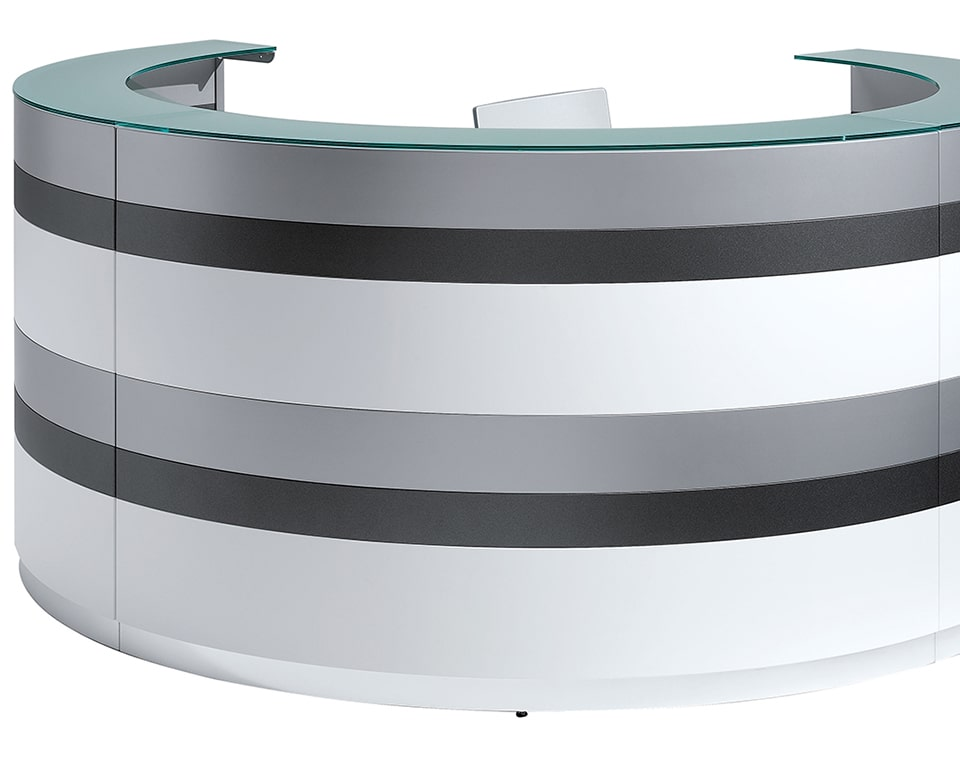 High quality Twist modular reception desk with matt lacquered horizontal stripes design