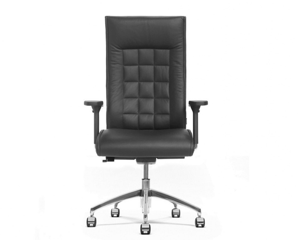 beaute high back black leather ergonomic executive chair with adjustable arms and lumbar support