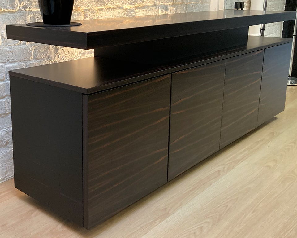 Taiko and Tau sideboards in ebony to match all Tau Extra large CEO executive desks anr boardroom tables