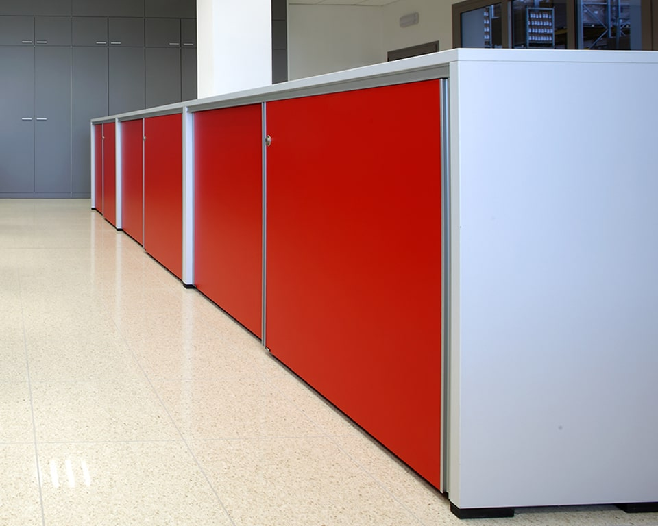 High quality Ekliss designer sliding door office cupboards with red doors and white structure