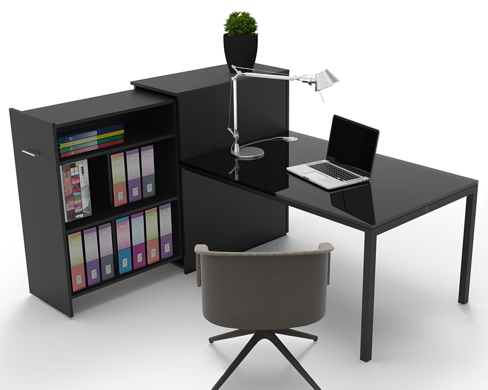 Small home office desk in black with integral storage cupboard for box files