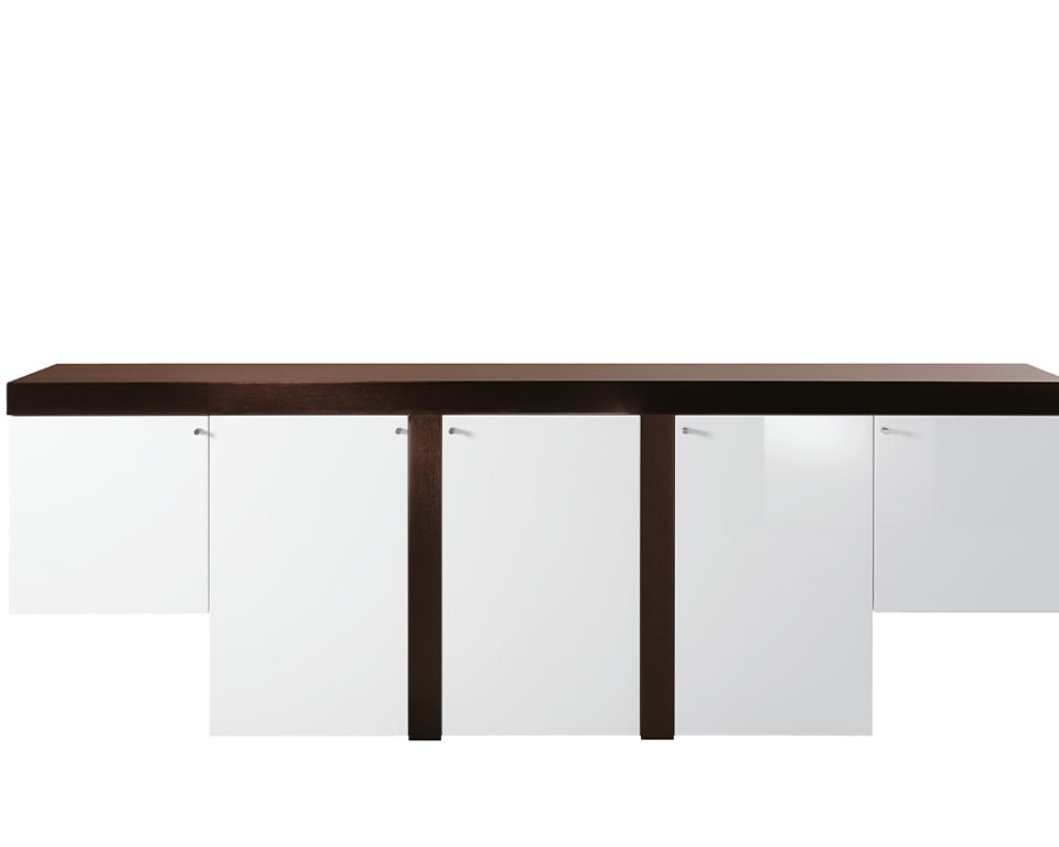 Luxury Tau high quality credenzas in white gloss and dark oak finish