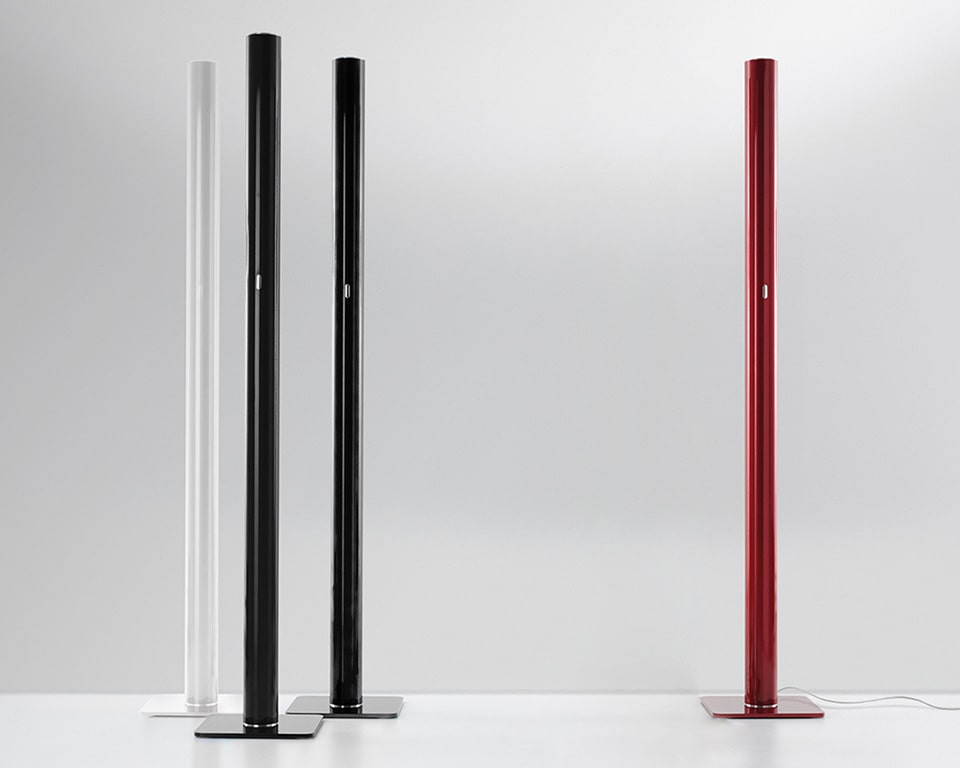 ILIO LED Floor standing LED uplighter with simple Italian design flair in Black, White or red.
