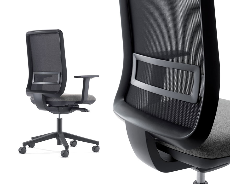 High quality home office task chairs -LA TASK High quality Computer operators chairs - Shown with a black mesh back and grey upholstered seat with a black 5 star base and castors. Height adjustable arms