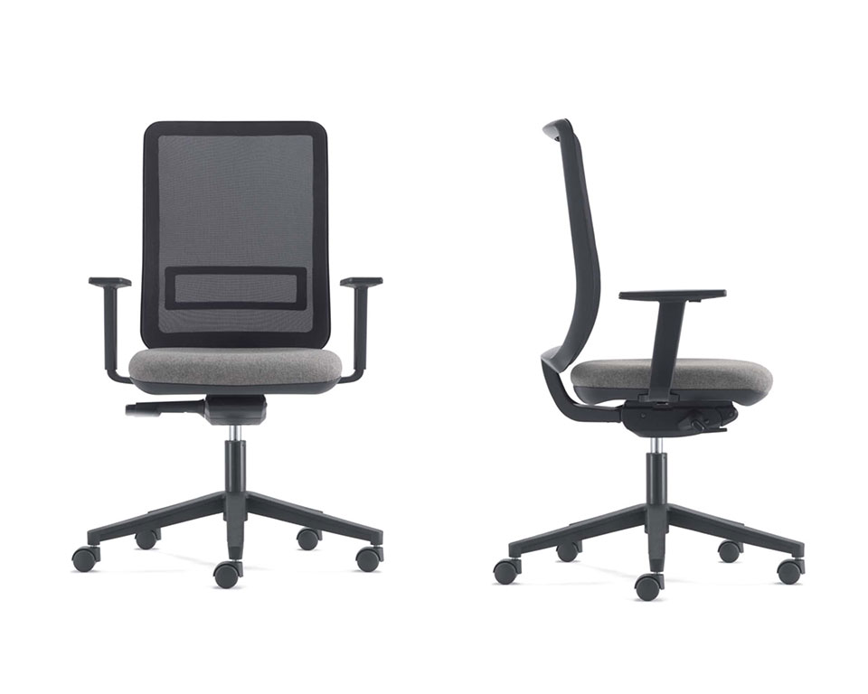 High end home office chairs- LA TASK High quality Computer operators chairs - Shown with a black mesh back and grey upholstered seat with a black 5 star base and castors. Height adjustable arms