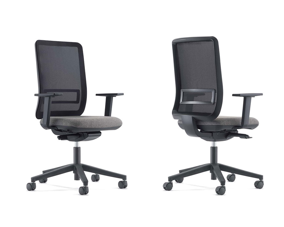 Stylish Designer Home office chairs LA TASK High quality Computer operators chairs - Shown with a black mesh back and grey upholstered seat with a black 5 star base and castors. Height adjustable arms