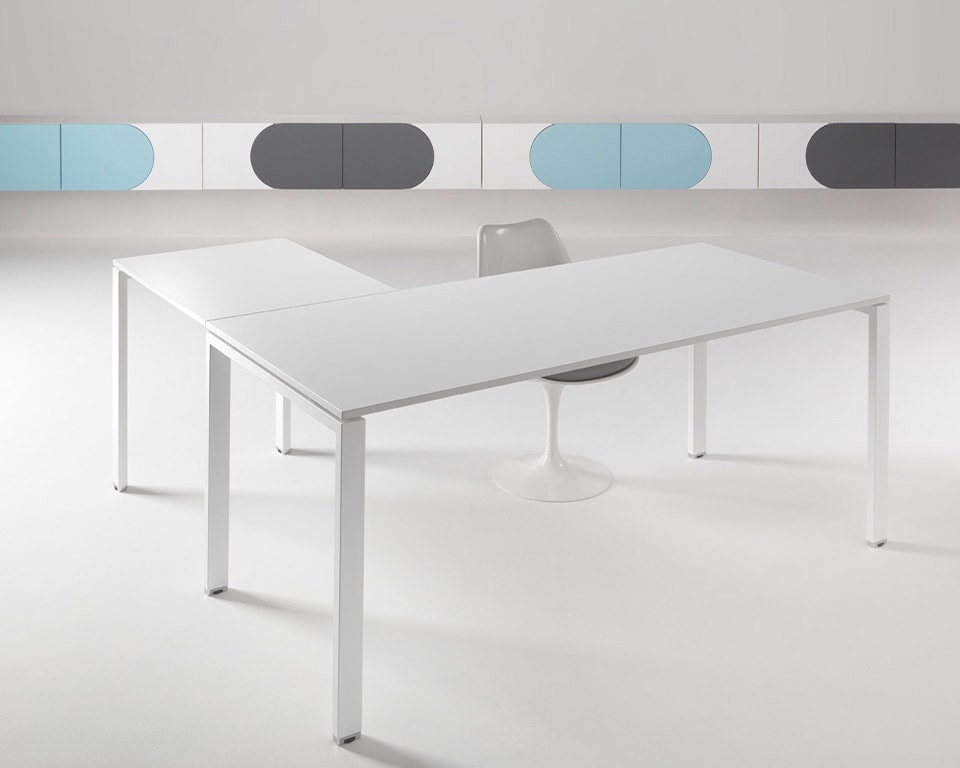 White Office Desk with White legs - Designer desks in rectangular or L shaped combinations for Small offices and home offices