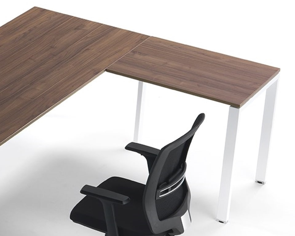 Canaletto Walnut wood Office Desk with White legs - Designer desks in rectangular or L shaped combinations for Small offices and home offices