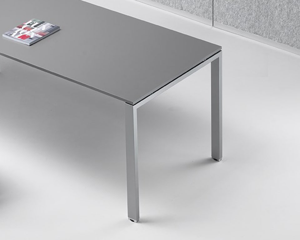 Medium grey Office Desk with White legs - Designer desks in rectangular or L shaped combinations for Small offices and home offices