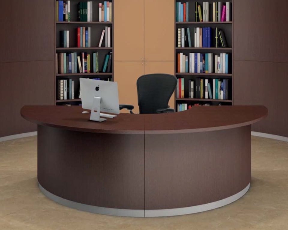 Designer Reception desk in dark brown lacquer - Semi circular low DDA reception desk for a single receptionist . 2300 diameter modular reception desk from Italy