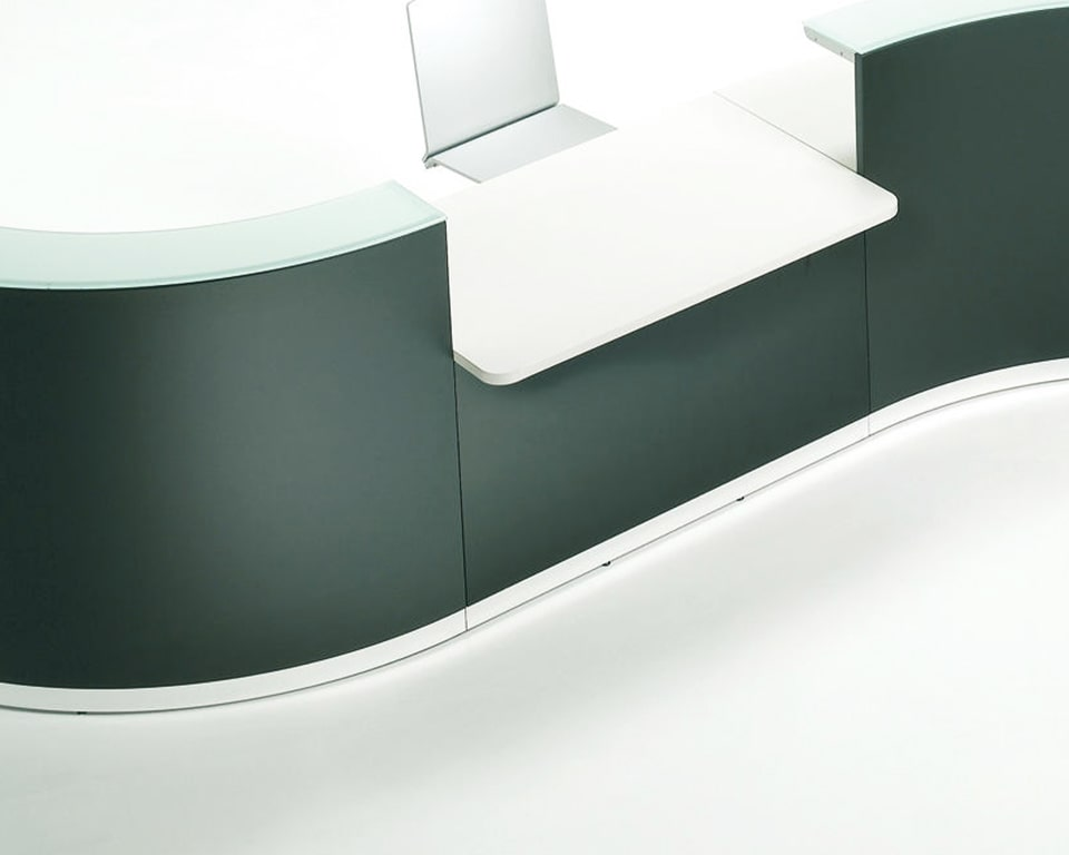 High quality Italian reception desk with a modular design to enable large or small reception desk combinations. shown here in martt black lacquered with a white DDA desk top