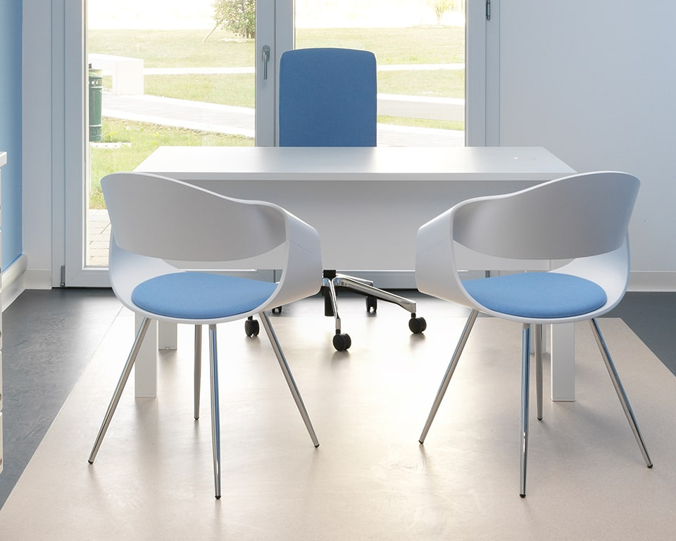 Premium quality designer meeting chairs - With white matt lacquered backs and a small upholstered seat pad with chrome legs