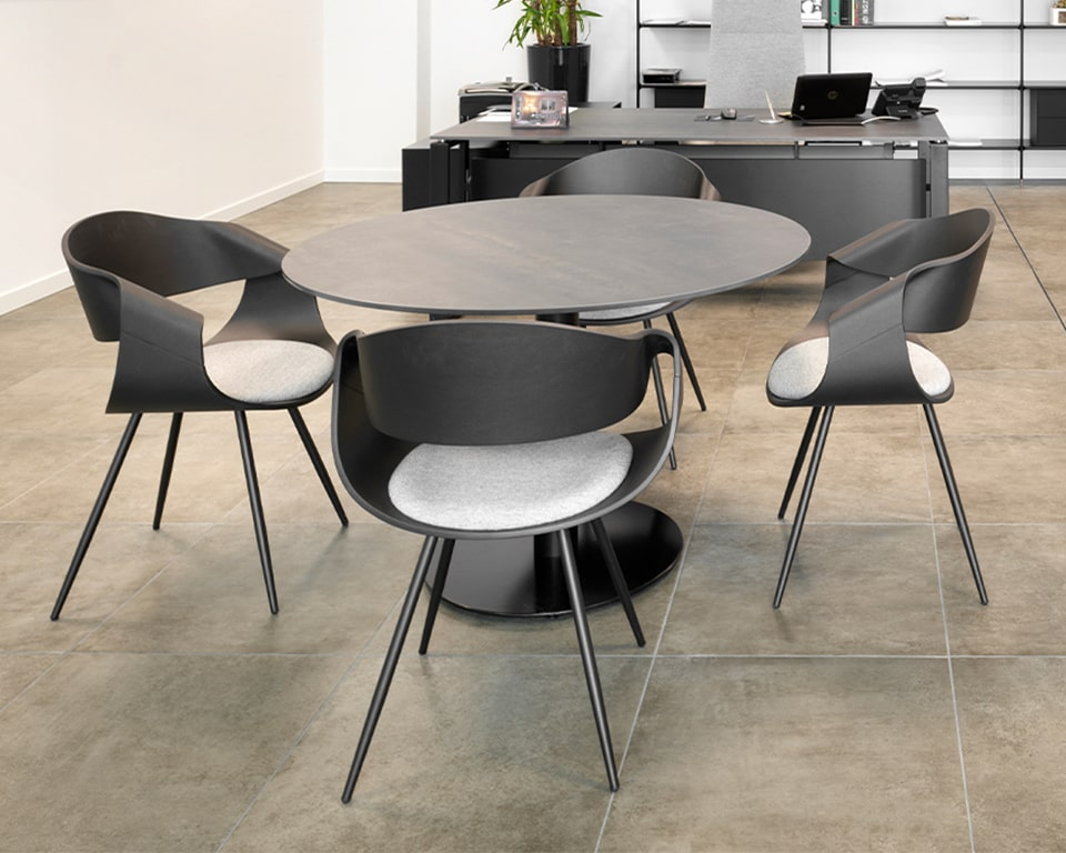 Premium high quality designer meeting chairs - With white matt lacquered backs and a small upholstered seat pad with chrome legs