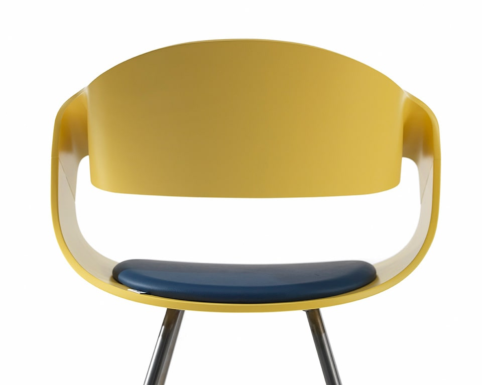 Premium quality designer meeting chairs - With white matt lacquered backs and a small upholstered seat pad with chrome legs rear view in non standard yellow lacquered