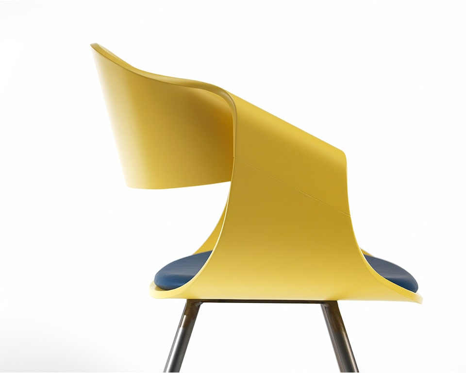 Premium quality designer meeting chairs - With white matt lacquered backs and a small upholstered seat pad with chrome legs side view in non standard yellow lacquered