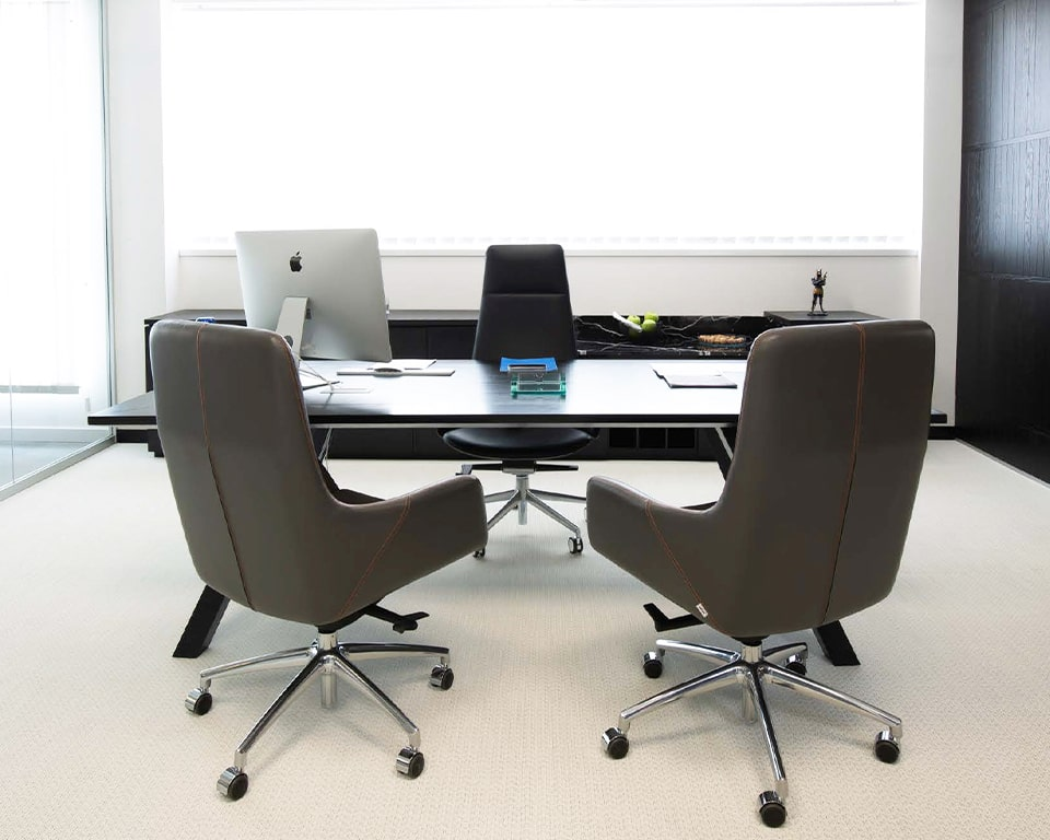 High Quality Italian executive office chairs with cantilever 5 star bases and top quality black Italian leather