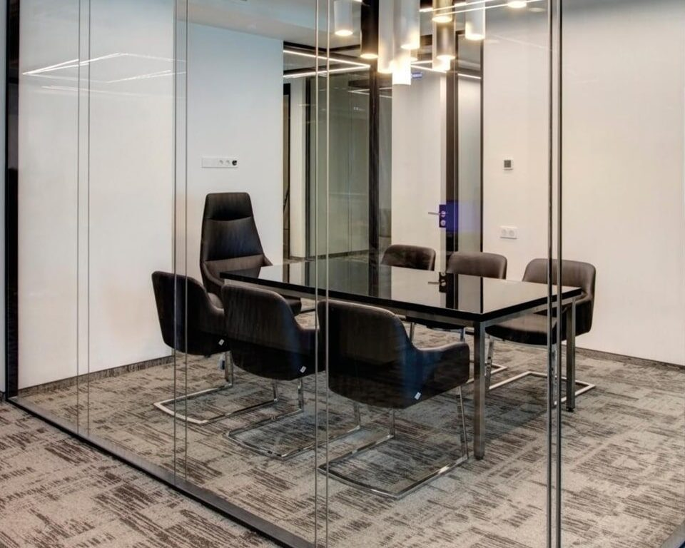 High Quality Italian boardroom chairs with cantilever bases and top quality black Italian leather