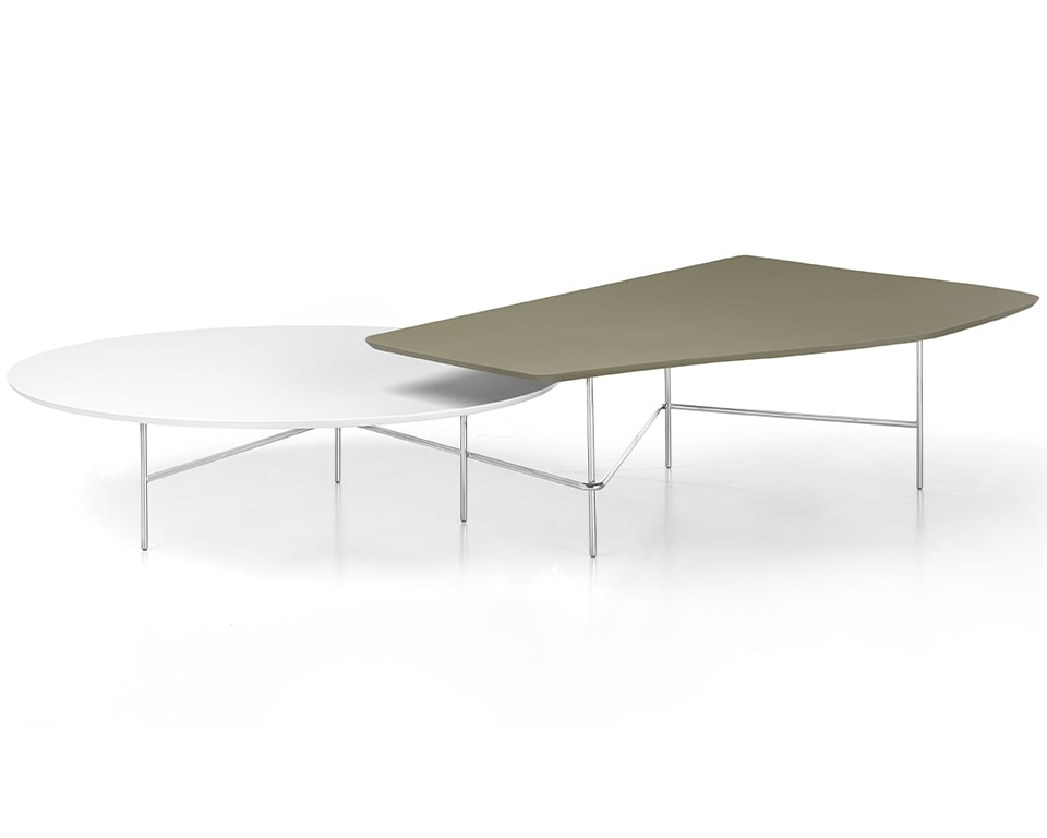 Feature Italian coffee tables - Large two tier coffee tables with chrome frames and tops in modern matt lacquered colours