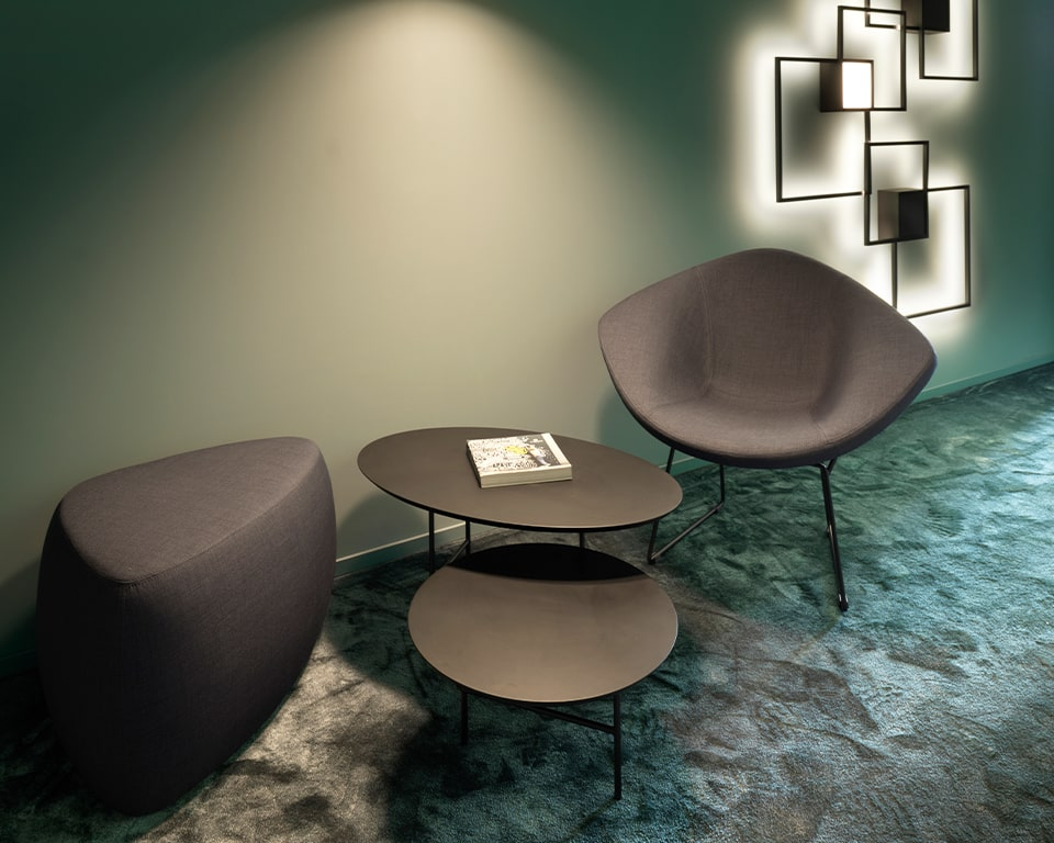 Black Designer coffee tables - Large two tier coffee tables with chrome frames and tops in modern matt lacquered colours