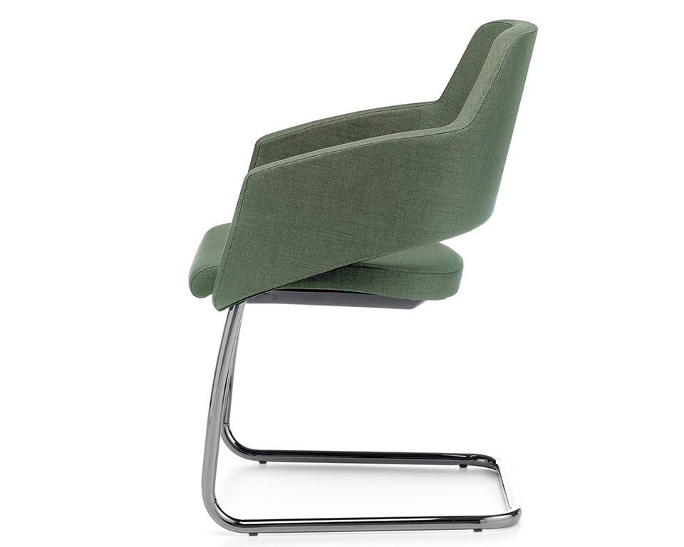 The Major visitors chairs have elegant chrome frames and are excellent compact boardroom chairs shown here in green fabric with side on view